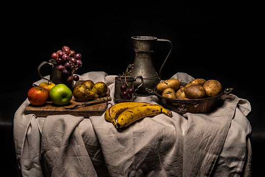 ellie bell photography, food photography, still life photography, renaissance, fruit, vegetables, food waste, banana, apple, pear, potatoes, grapes, pewter