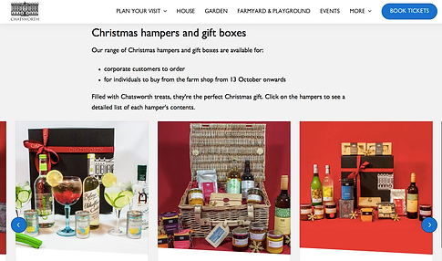 ellie bell photography, hampers, chatsworth, website, product photography
