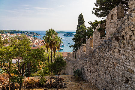 ellie bell photography, croatia, hvar, island, summer, adriatic sea, view, castle, trees, palm trees, architecture, europe, summer