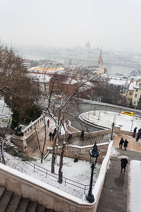 ellie bell photography, travel, budapest, hungary, europe, travel photography, snow, fisherman's bastion, winter