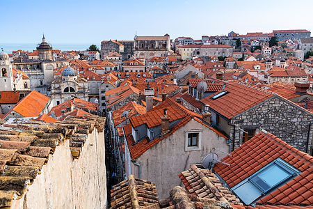 ellie bell photography, dubrovnik, croatia, europe, architecture, view, city walls, city wall walk, roof, sea