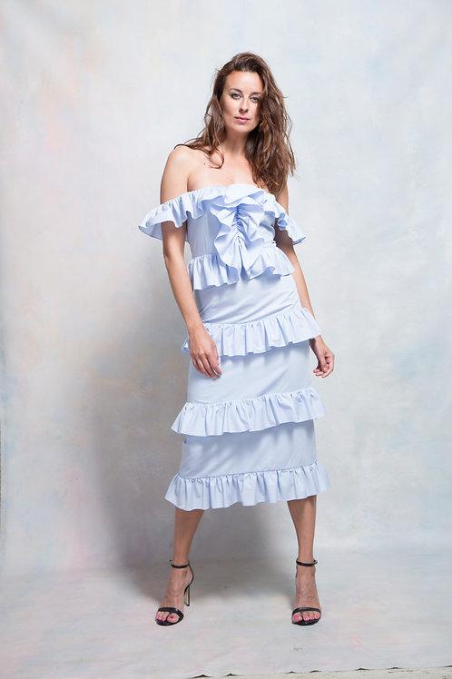 Платье с воланами голубое