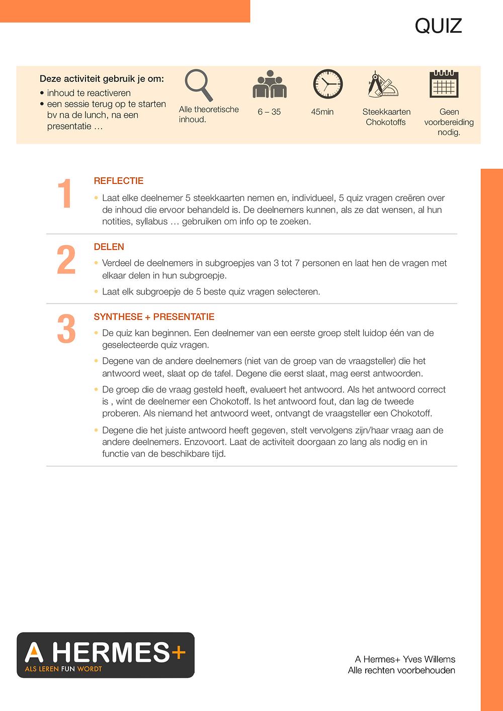 Ludo-pedagogische activiteit: quiz