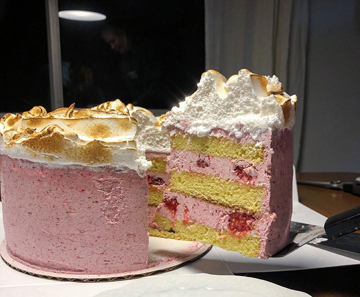 slice of lemon raspberry meringue cake