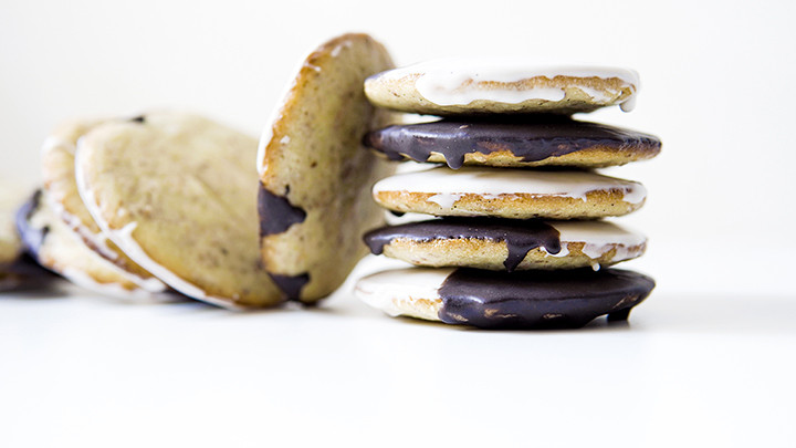 stack of black and white cookies