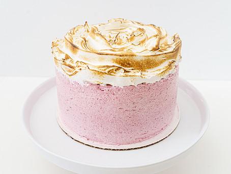 Lemon Raspberry Glitter Cake