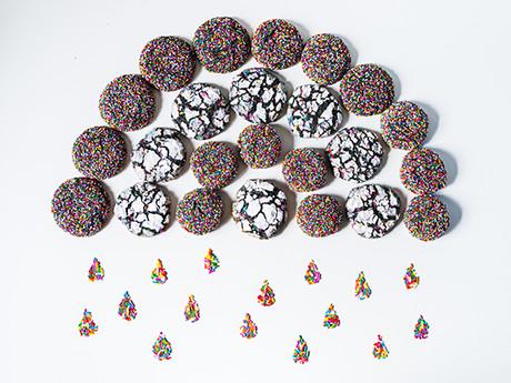 Black Sesame Rainbow Crinkle Cookies