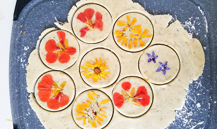 flowers pressed on rolled cookie dough