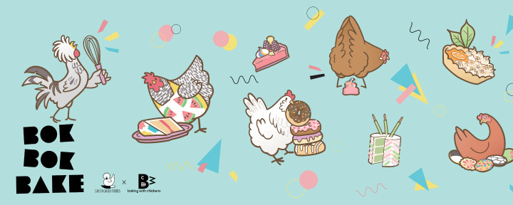cute illustrated chicken cartoons with desserts