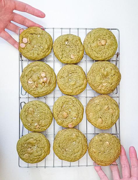 a dozen matcha cookies