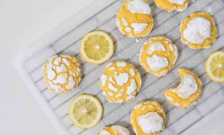 lemon cookies next to lemon slices