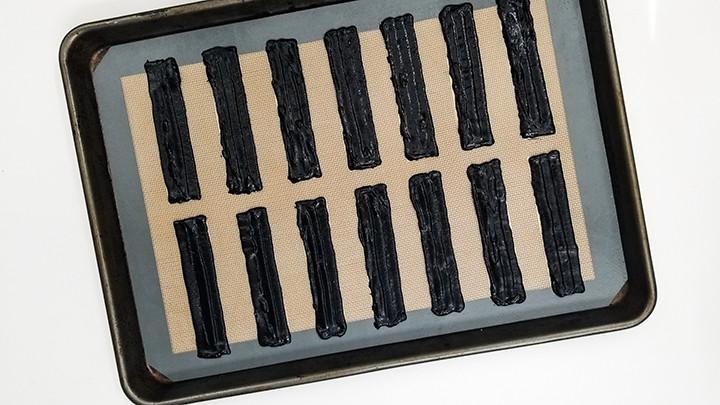 black rectangle cookie batter