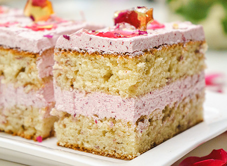 Raspberry Rose Cake Bars