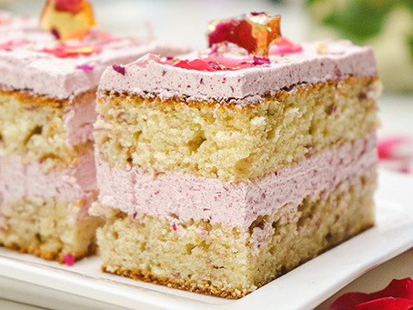 Raspberry Rose Cake Bars