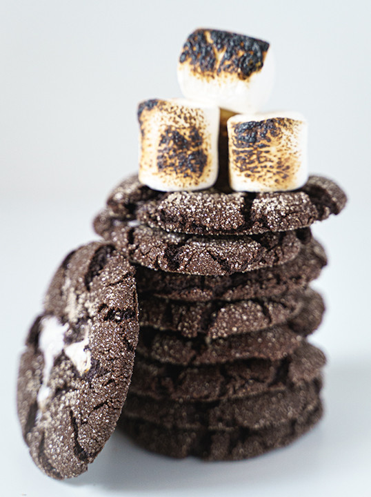 stack of chocolate marshmallow cookies