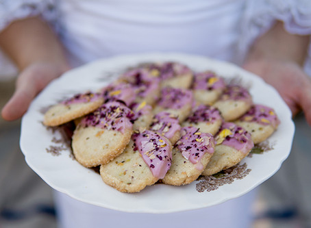 Rose Pistachio Shortbread Cookies