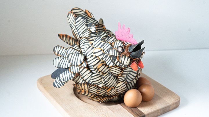 chicken made of black and white striped cookies