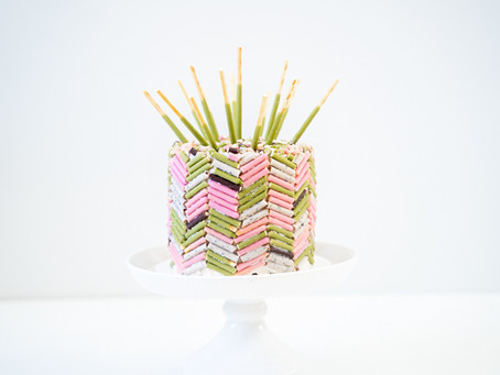 Pocky Cake with Herringbone Decoration