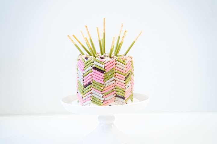 Match cake with herringbone design made with Pocky sticks