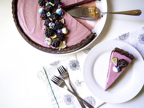 Blackberry Lime Tart with Dark Chocolate Almond Crust