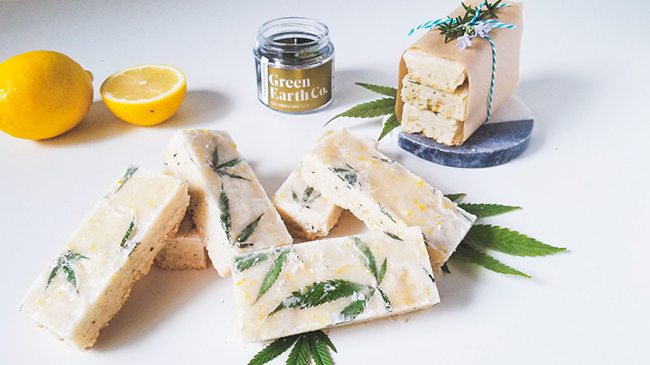 lemon shortbread bars infused with cannabis