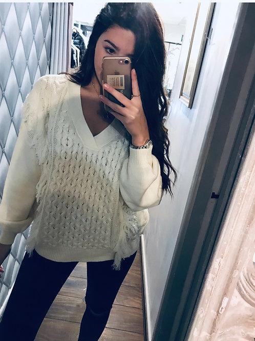 V neck knit jumper with tassel details
