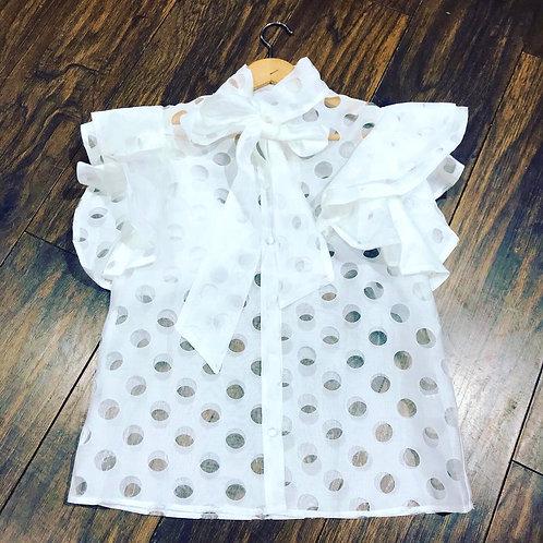Poka dot front knot frilled sleeve blouse
