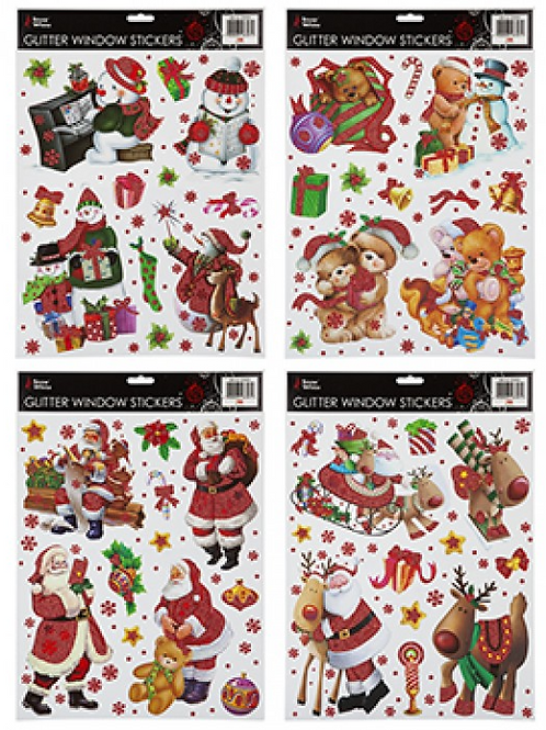 Traditional Glitter Christmas Window Stickers