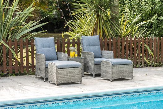 Florence 2 Seat Lounger Set with Footstools and Table