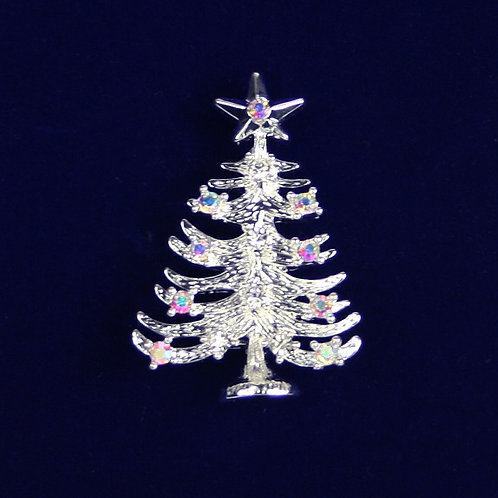 Indulgence Gold White Christmas Tree Crystal Pin