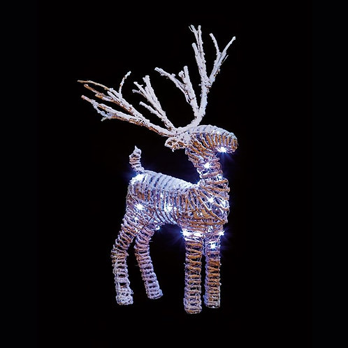 Rattan Reindeer With Snow 46cm Standing With LEDs