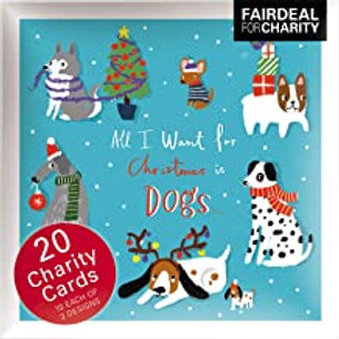 20 Christmas Cards - Want For Xmas / Christmas Dogs