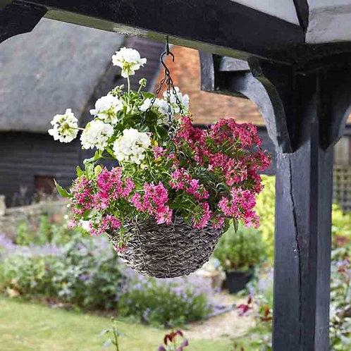 14'' Tawny Faux Rattan Hanging Basket