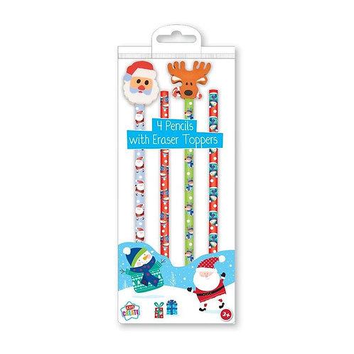 4 Pack Pencils & Novelty Erasers