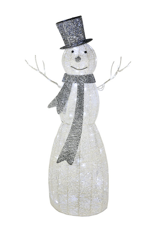 124cm Lit White Glitter Snowman