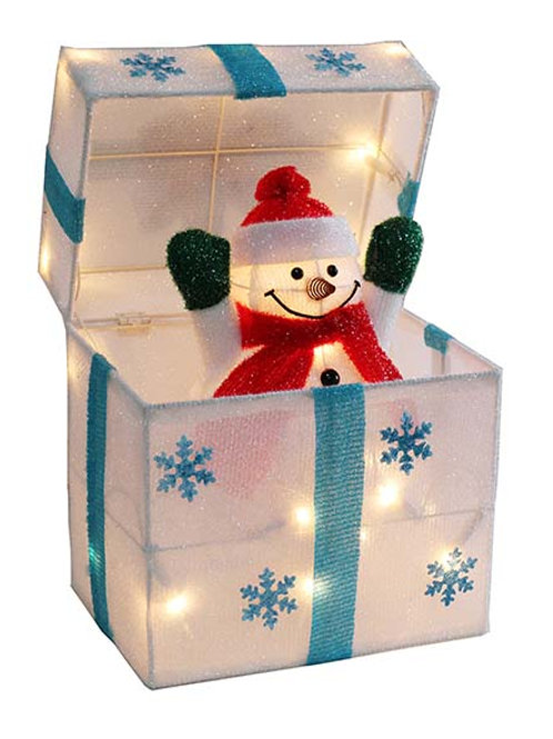 30cm Animated Snowman And Snowflake Parcel