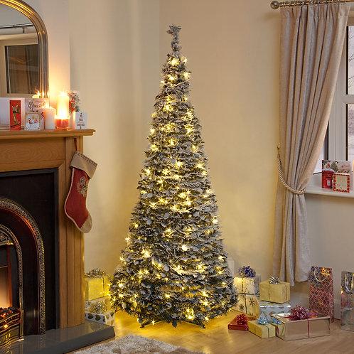150cm Flock Holly Pop Up Tree Warm White Lights