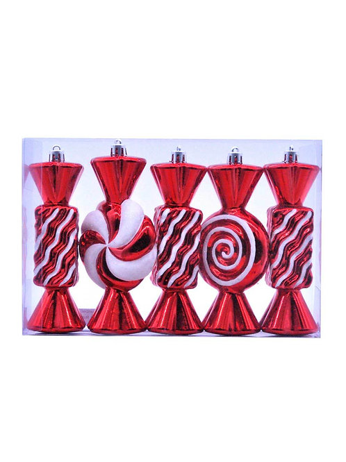 Pack Of 5 X 15cm Red / White Stripped Candy