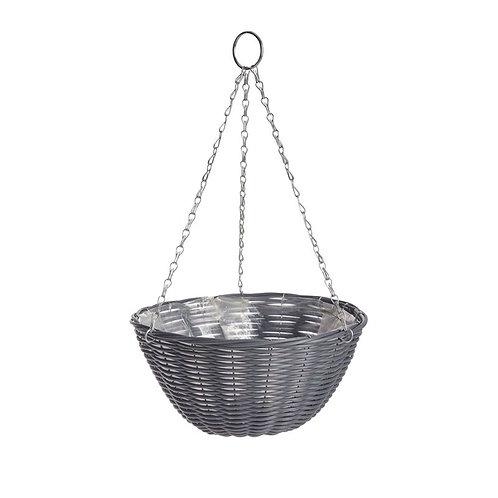 """Gardman 14"""" Hanging Basket Grey Rattan"""