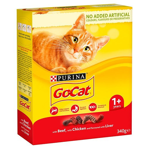 Purina Go Cat Beef, Chicken & Liver 340g