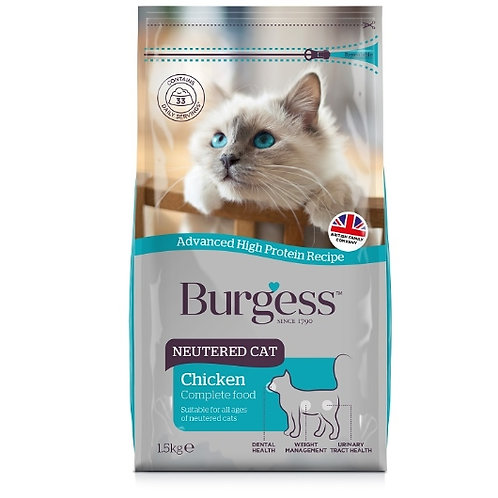 Burgess Cat Adult Neutered Chicken 1.5kg