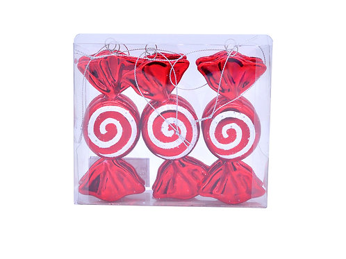Pack Of 6 X 11cm Red And White Candy
