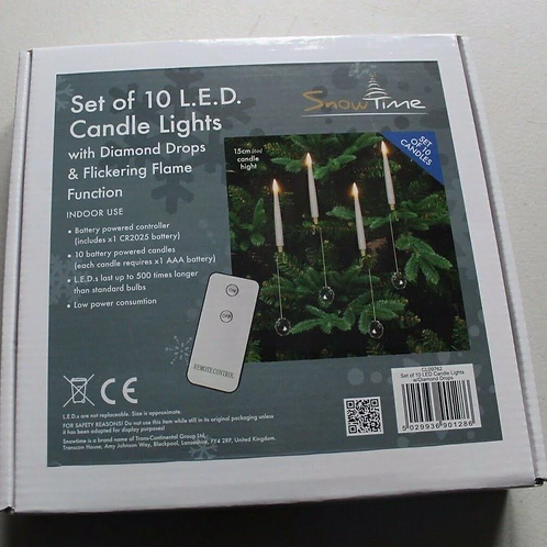 Snowtime Set Of 10 LED Candle Lights With Diamond Drops