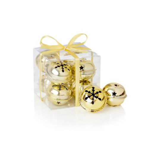 Pack Of 8 x 4cm Gold Jingle Bells