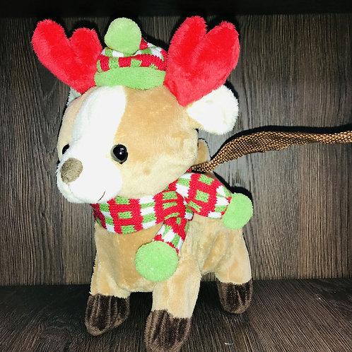 27cm Animated Walking Fawn Reindeer with Lead & Sings