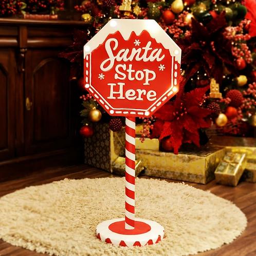 91cm Santa Stop Here Sign