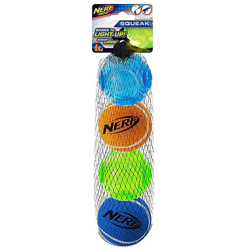 Nerf LED Assorted Tennis Ball 4 Pack