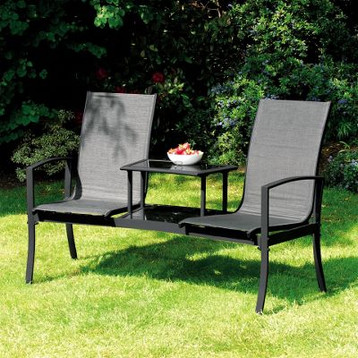 Black Duo Seat with Table