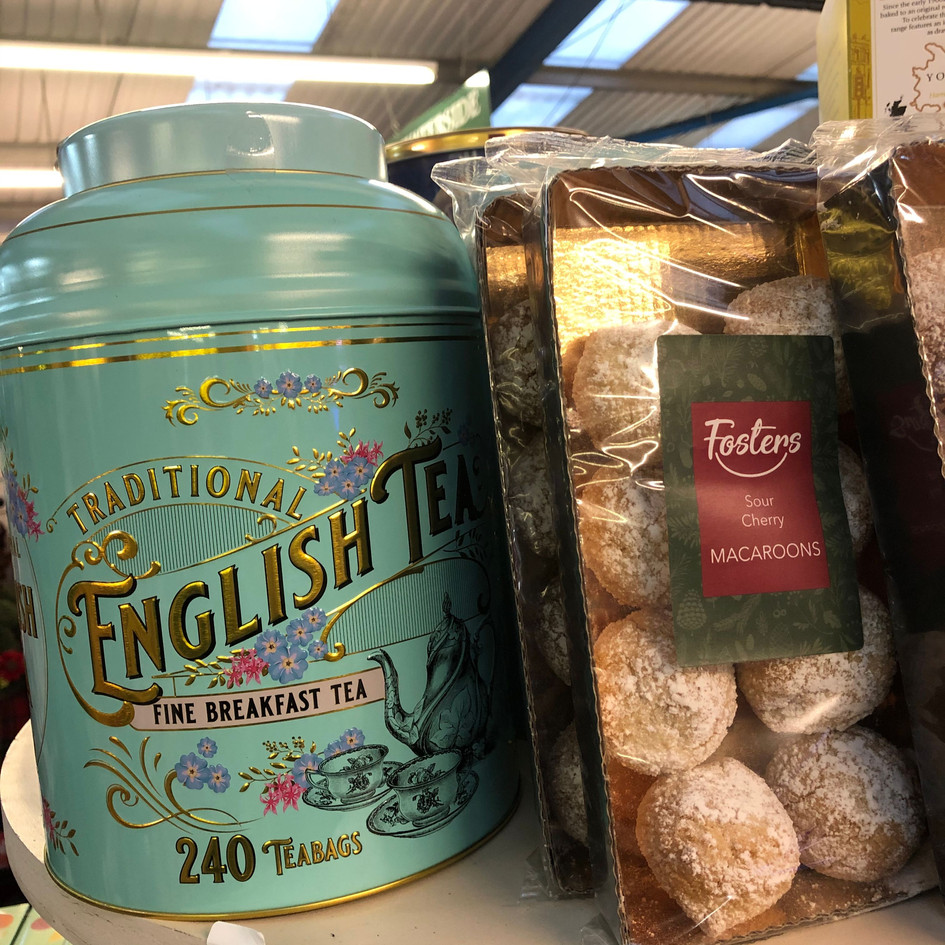 Beautiful tin of English Tea & Sour Cherry Macaroons