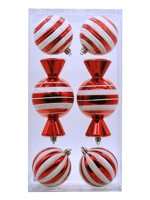 Pack Of 6 X 8cm Red / White Stripped Candy